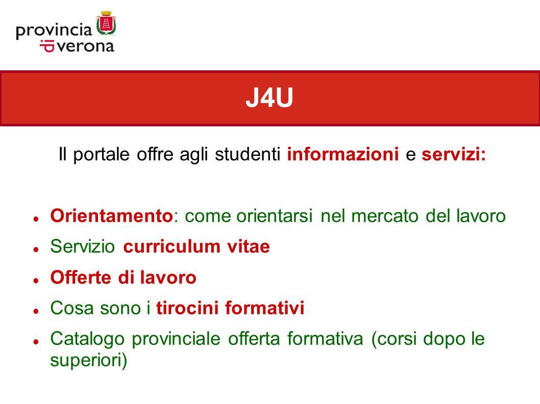 J4U Il portale offre agli studenti informazioni e servizi: Orientamento: come orientarsi nel mercato del lavoro Servizio curriculum vitae Offerte di l