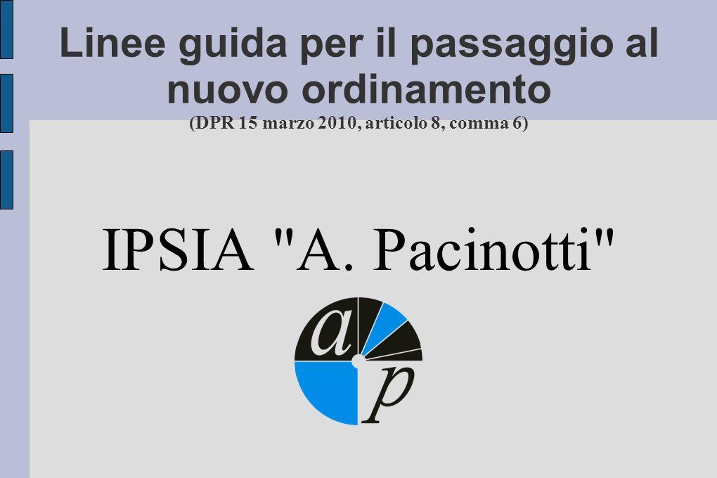 Linee guida per il passaggio al nuovo ordinamento (DPR 15 marzo 2010, articolo 8, comma 6) IPSIA