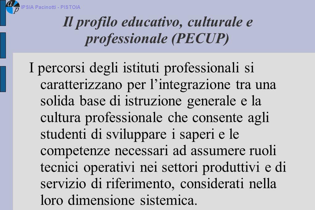 Il profilo educativo, culturale e professionale (PECUP) I percorsi degli istituti professionali si caratterizzano per lintegrazione tra una solida bas