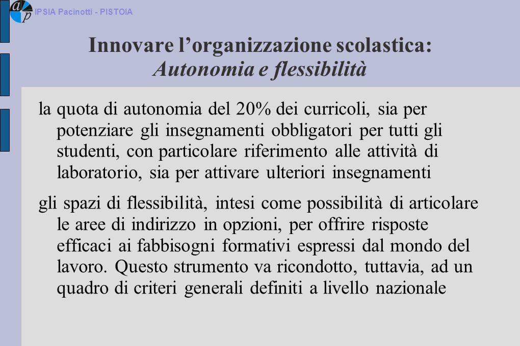 Innovare lorganizzazione scolastica: Autonomia e flessibilità la quota di autonomia del 20% dei curricoli, sia per potenziare gli insegnamenti obbliga
