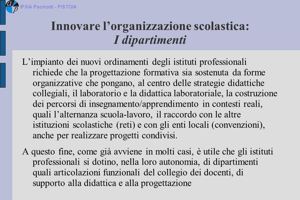 Innovare lorganizzazione scolastica: I dipartimenti Limpianto dei nuovi ordinamenti degli istituti professionali richiede che la progettazione formati