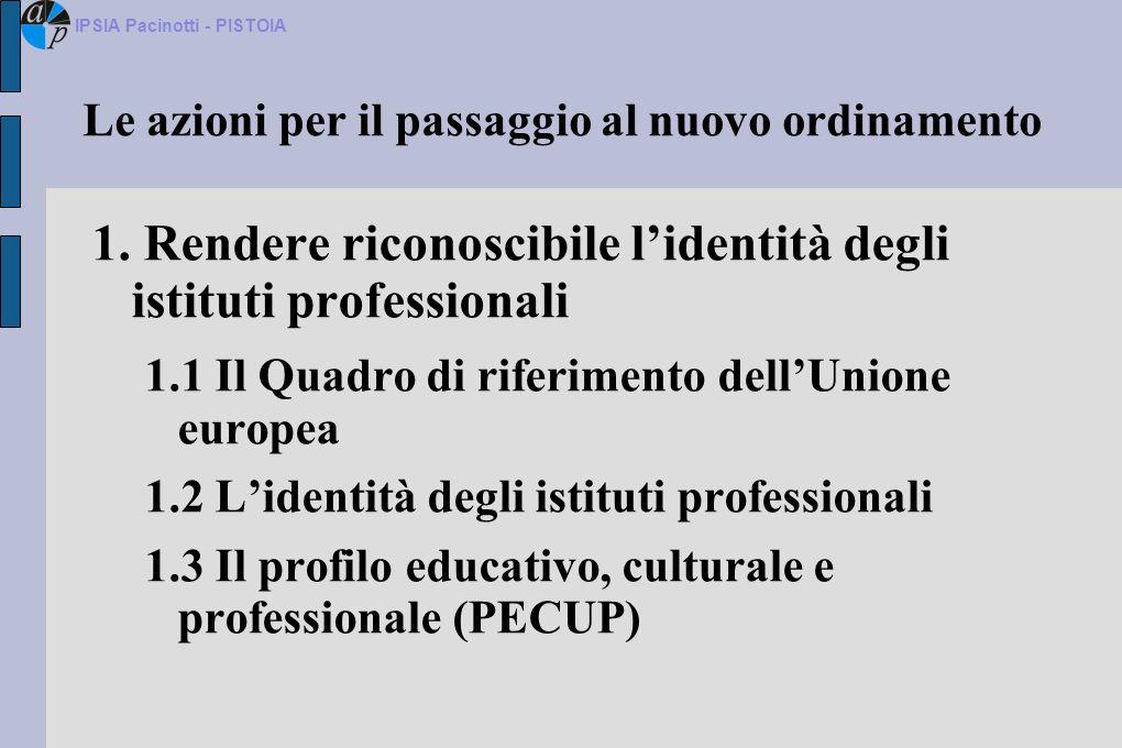 Innovare lorganizzazione scolastica: Il comitato tecnico scientifico Gli istituti professionali, in base allart.