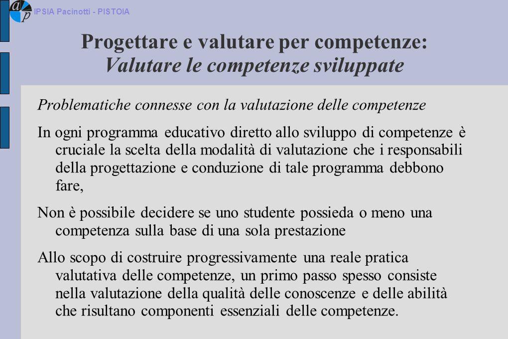 Progettare e valutare per competenze: Valutare le competenze sviluppate Problematiche connesse con la valutazione delle competenze In ogni programma e