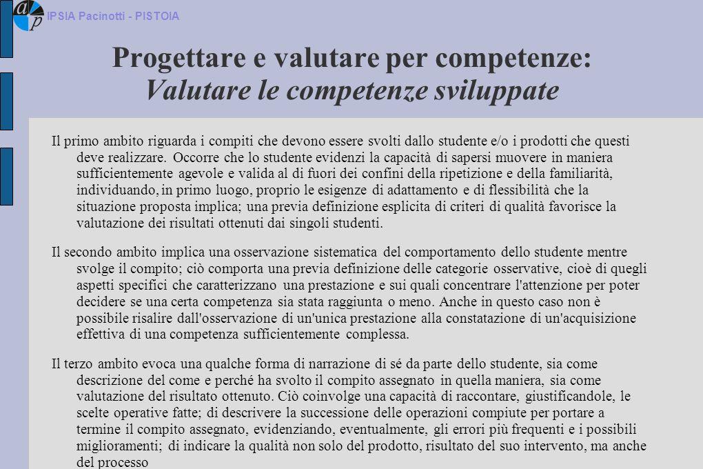 Progettare e valutare per competenze: Valutare le competenze sviluppate Il primo ambito riguarda i compiti che devono essere svolti dallo studente e/o