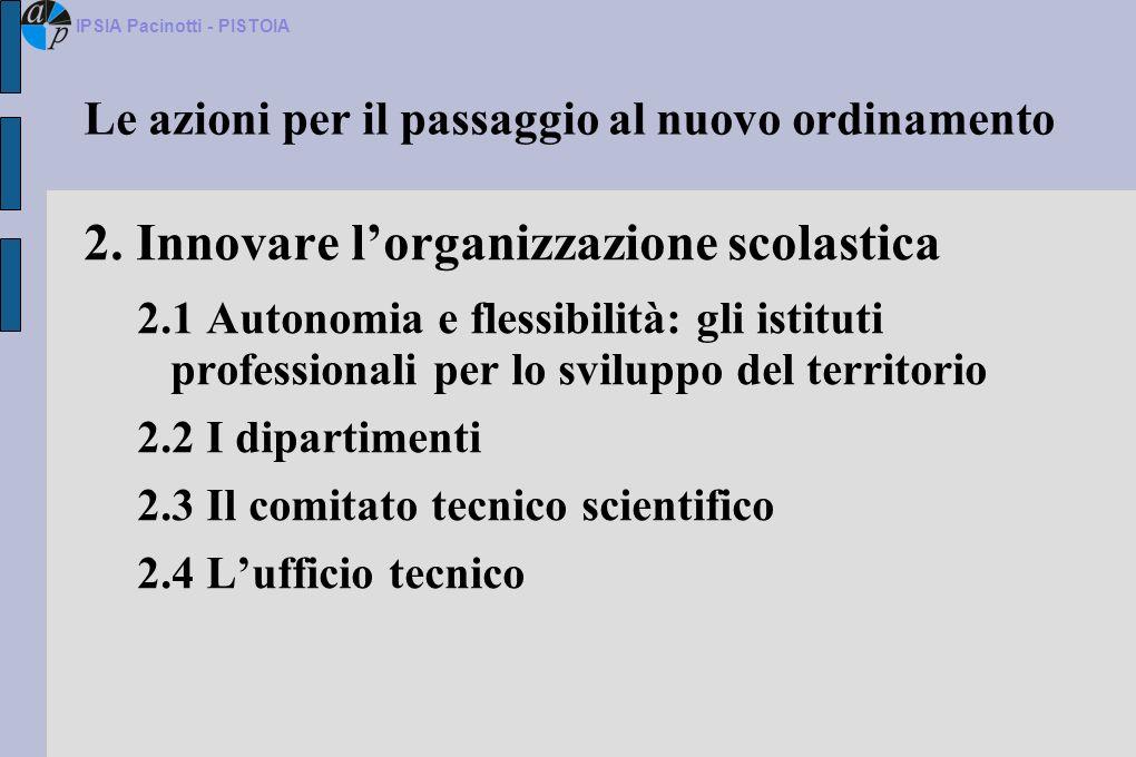 Le azioni per il passaggio al nuovo ordinamento 2. Innovare lorganizzazione scolastica 2.1 Autonomia e flessibilità: gli istituti professionali per lo