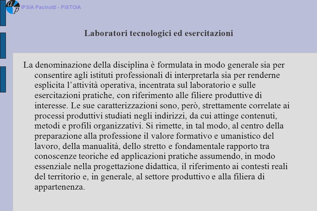 Laboratori tecnologici ed esercitazioni La denominazione della disciplina è formulata in modo generale sia per consentire agli istituti professionali