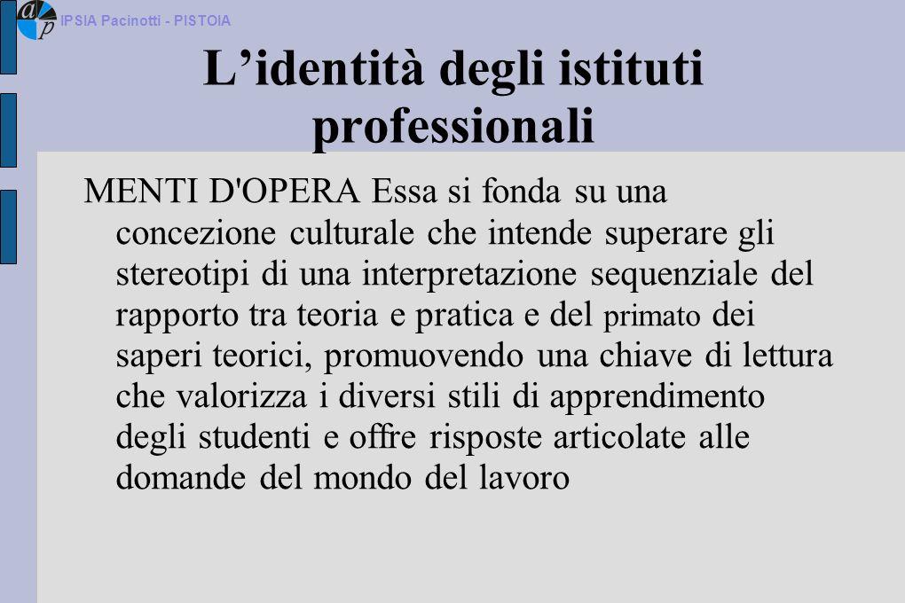 Lidentità degli istituti professionali MENTI D'OPERA Essa si fonda su una concezione culturale che intende superare gli stereotipi di una interpretazi