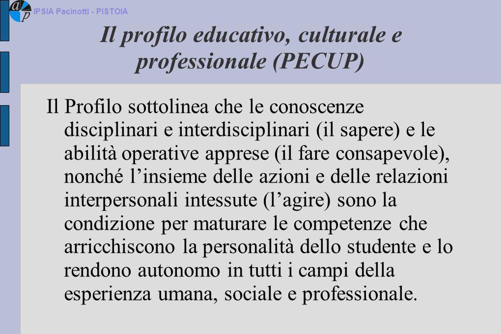 Il profilo educativo, culturale e professionale (PECUP) Il Profilo sottolinea che le conoscenze disciplinari e interdisciplinari (il sapere) e le abil
