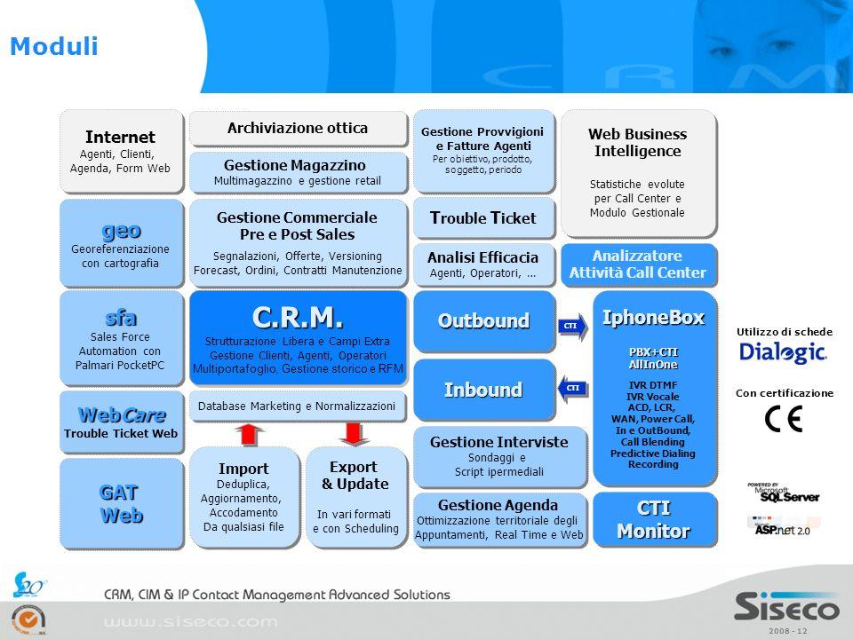 2008 - 12 C.R.M. Strutturazione Libera e Campi Extra Gestione Clienti, Agenti, Operatori Multiportafoglio, Gestione storico e RFMC.R.M. Strutturazione