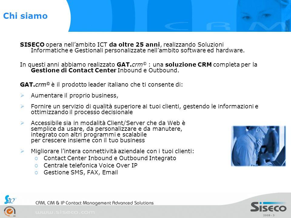 2008 - 3 SISECO opera nellambito ICT da oltre 25 anni, realizzando Soluzioni Informatiche e Gestionali personalizzate nellambito software ed hardware.