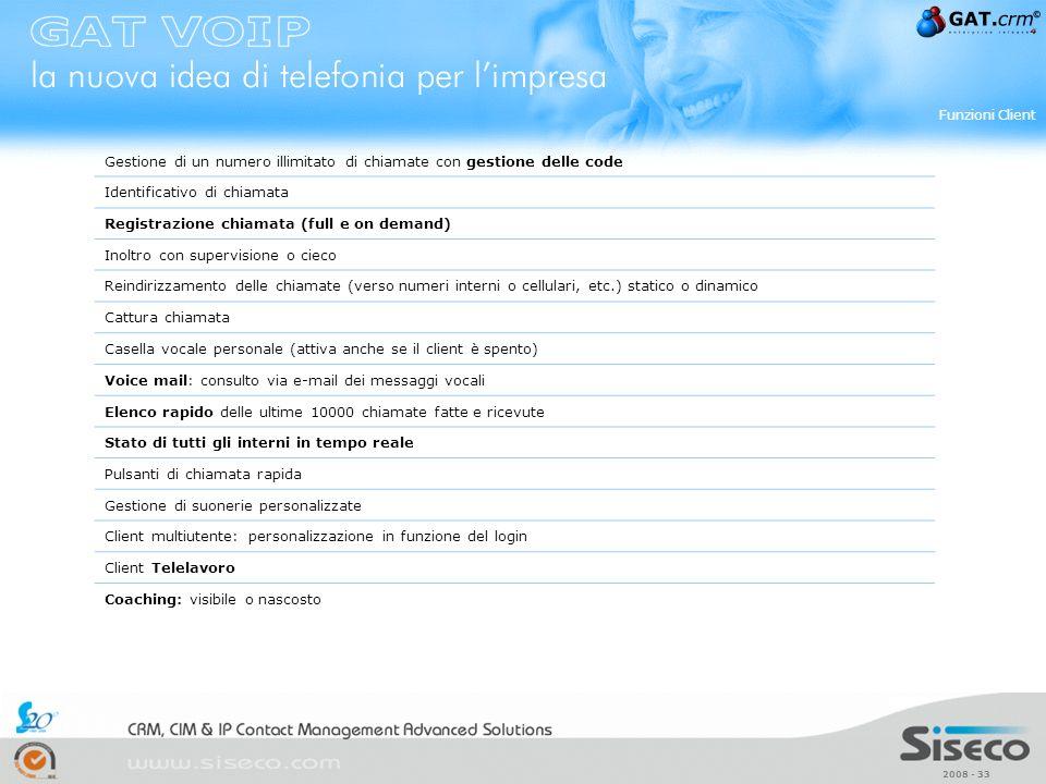 2008 - 33 Gestione di un numero illimitato di chiamate con gestione delle code Identificativo di chiamata Registrazione chiamata (full e on demand) In