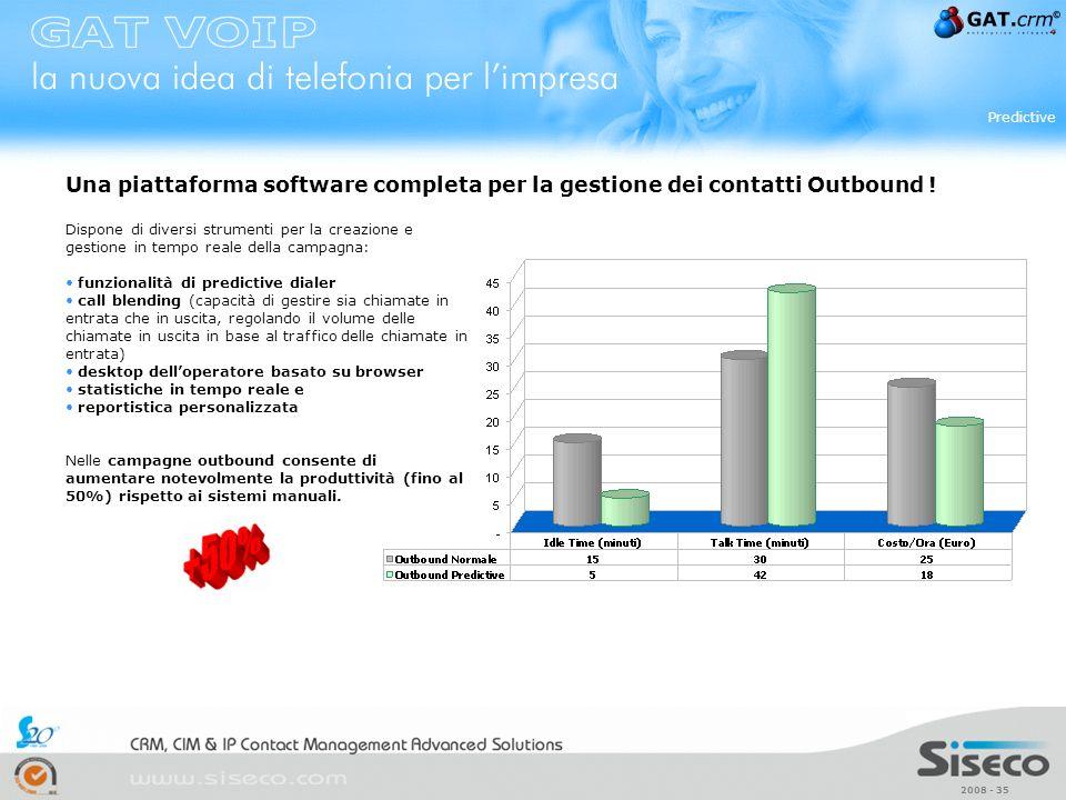 2008 - 35 Predictive Dispone di diversi strumenti per la creazione e gestione in tempo reale della campagna: funzionalità di predictive dialer call bl