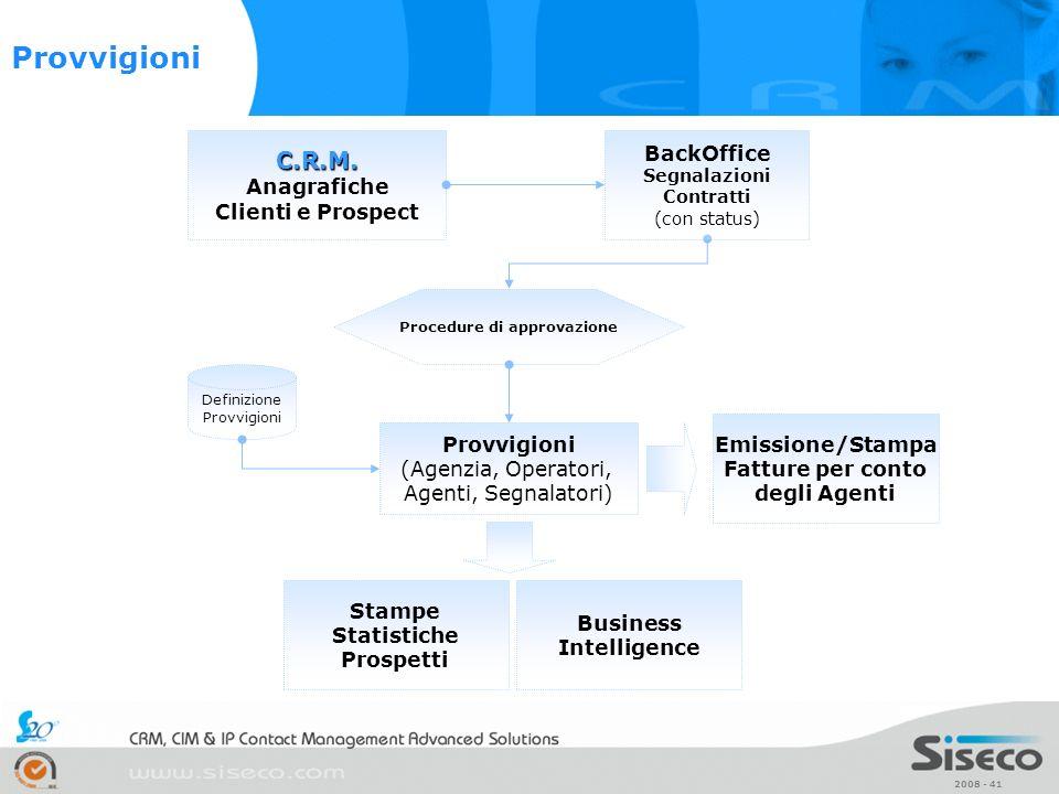 2008 - 41 C.R.M. C.R.M. Anagrafiche Clienti e Prospect Provvigioni (Agenzia, Operatori, Agenti, Segnalatori) BackOffice Segnalazioni Contratti (con st