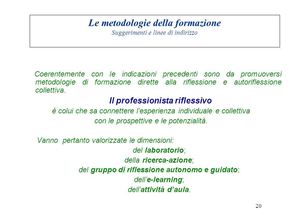 Le metodologie della formazione Suggerimenti e linee di indirizzo Coerentemente con le indicazioni precedenti sono da promuoversi metodologie di formazione dirette alla riflessione e autoriflessione collettiva.