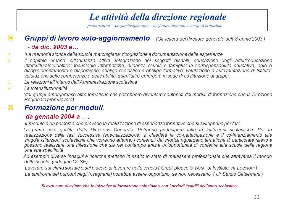 Le attività della direzione regionale promozione - co-partecipazione - co-finanziamento : tempi e modalità.
