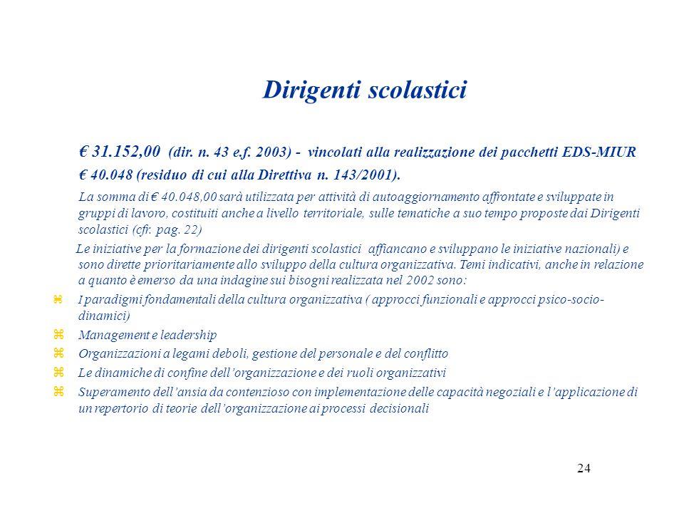 Dirigenti scolastici 31.152,00 (dir.n. 43 e.f.