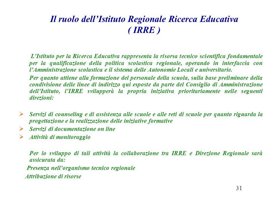 Il ruolo dellIstituto Regionale Ricerca Educativa ( IRRE ) LIstituto per la Ricerca Educativa rappresenta la risorsa tecnico scientifica fondamentale per la qualificazione della politica scolastica regionale, operando in interfaccia con lAmministrazione scolastica e il sistema delle Autonomie Locali e universitarie.