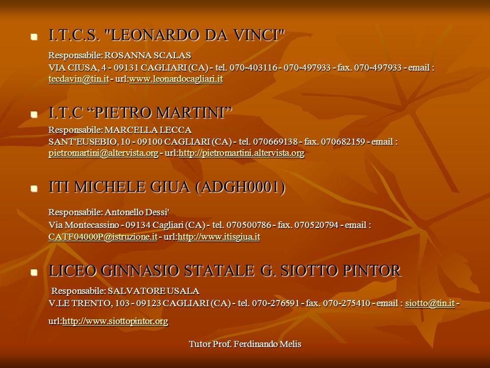 Tutor Prof. Ferdinando Melis I.T.C.S.