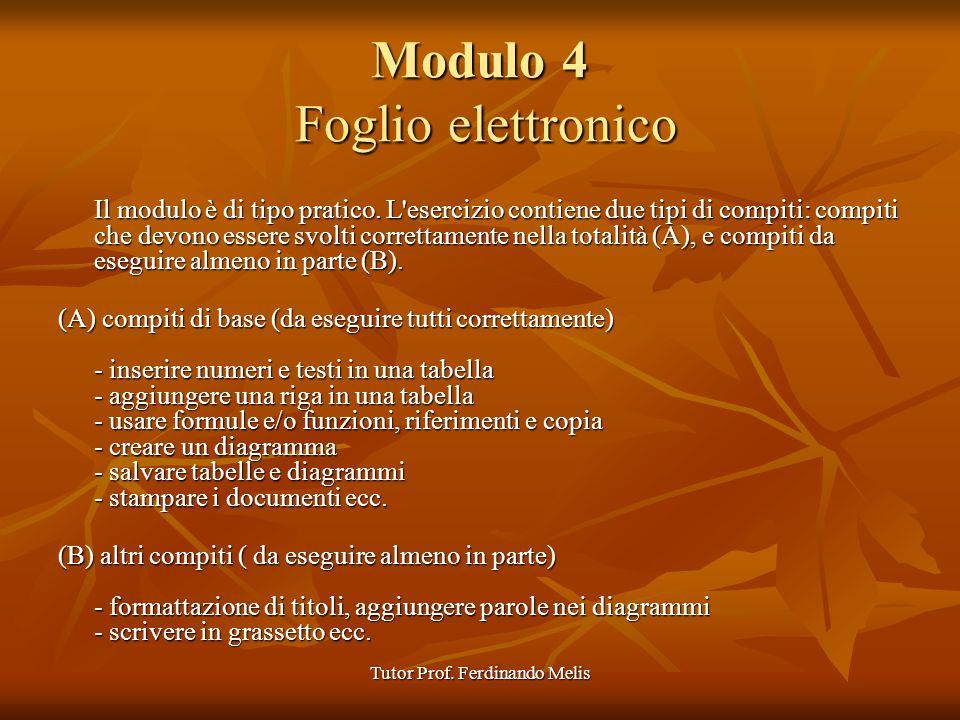 Tutor Prof. Ferdinando Melis Modulo 4 Foglio elettronico Il modulo è di tipo pratico. L'esercizio contiene due tipi di compiti: compiti che devono ess