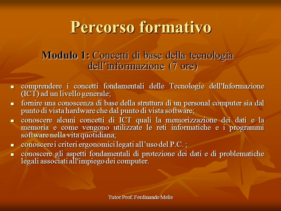 Tutor Prof.Ferdinando Melis I.T.C.S. LEONARDO DA VINCI I.T.C.S.