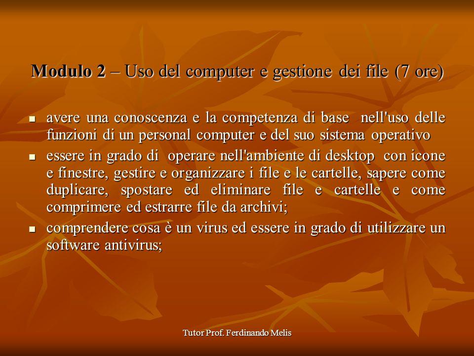 Tutor Prof. Ferdinando Melis Modulo 2 – Uso del computer e gestione dei file (7 ore) avere una conoscenza e la competenza di base nell'uso delle funzi