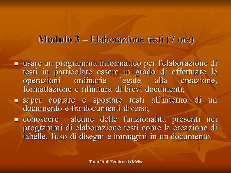Tutor Prof. Ferdinando Melis Modulo 3 – Elaborazione testi (7 ore) usare un programma informatico per l'elaborazione di testi in particolare essere in