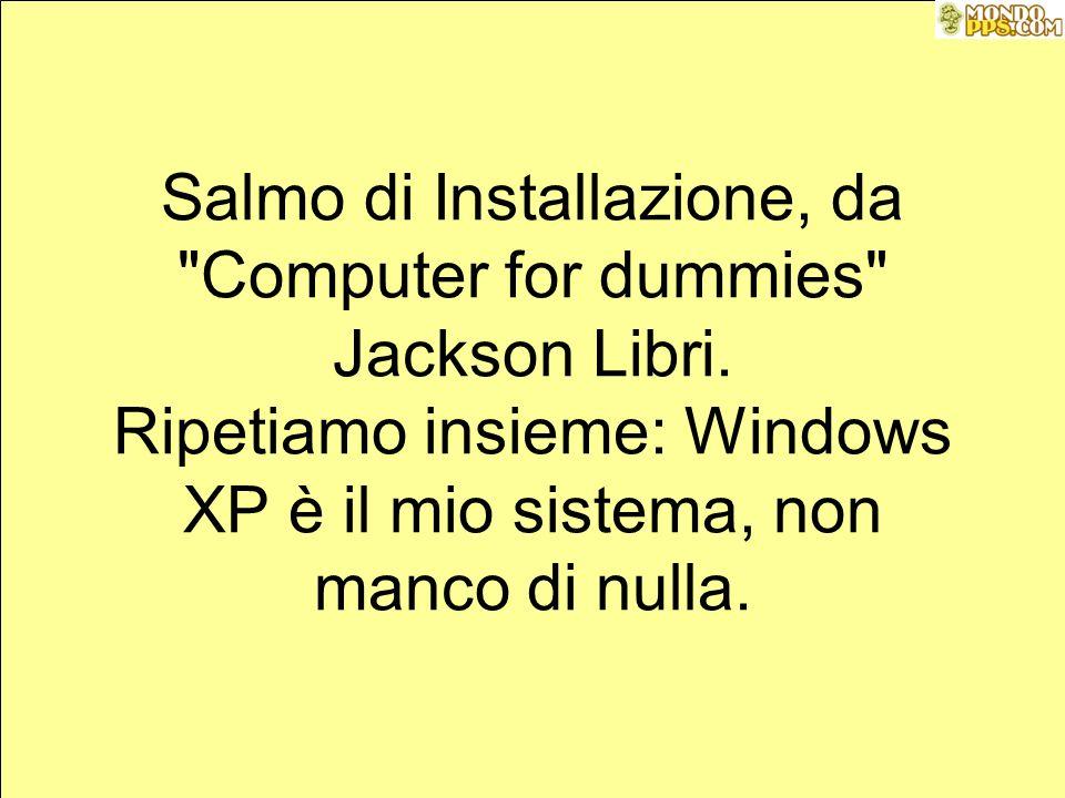 Salmo di Installazione, da Computer for dummies Jackson Libri.