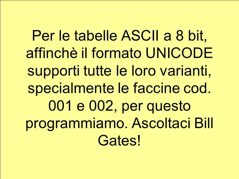 Per le tabelle ASCII a 8 bit, affinchè il formato UNICODE supporti tutte le loro varianti, specialmente le faccine cod.