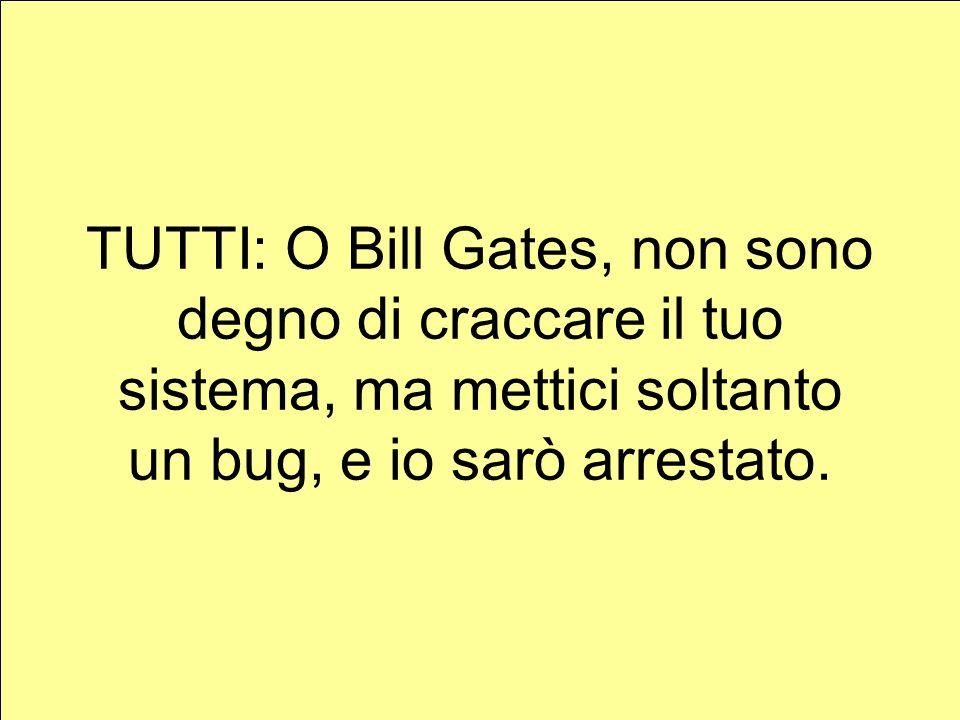 TUTTI: O Bill Gates, non sono degno di craccare il tuo sistema, ma mettici soltanto un bug, e io sarò arrestato.