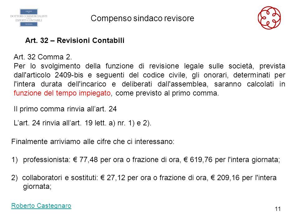 10 Compenso sindaco revisore Roberto Castegnaro Art. 19 – Indennità - Al professionista spettano le seguenti indennità Per l'assenza dallo studio per