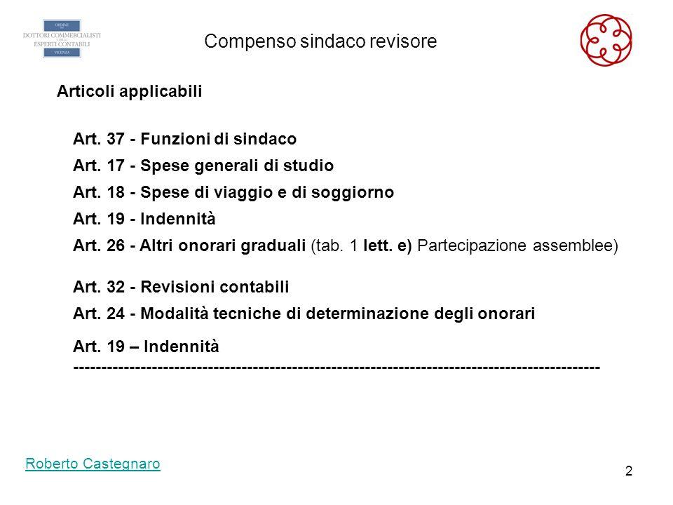 1 La tariffa professionale Calcolo compenso Sindaco Revisore dott. Roberto Castegnaro Vicenza 9 febbraio 2011