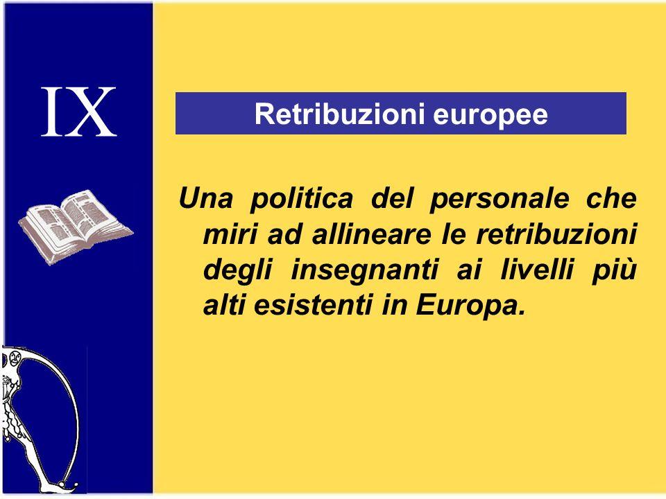 IX Retribuzioni europee Una politica del personale che miri ad allineare le retribuzioni degli insegnanti ai livelli più alti esistenti in Europa.