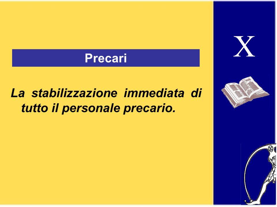 X Precari La stabilizzazione immediata di tutto il personale precario.