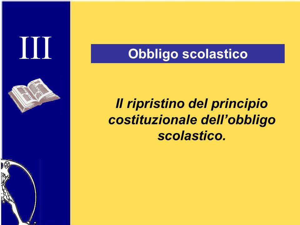 III Obbligo scolastico Il ripristino del principio costituzionale dellobbligo scolastico.
