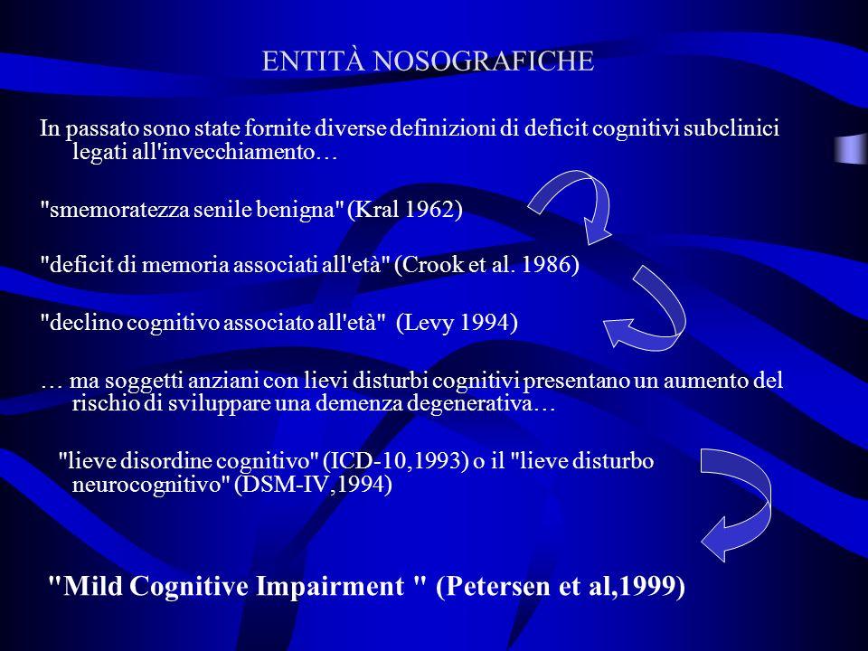 In passato sono state fornite diverse definizioni di deficit cognitivi subclinici legati all invecchiamento… smemoratezza senile benigna (Kral 1962) deficit di memoria associati all età (Crook et al.