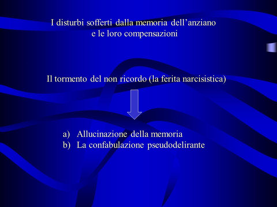 I disturbi sofferti dalla memoria dellanziano e le loro compensazioni Il tormento del non ricordo (la ferita narcisistica) a)Allucinazione della memoria b)La confabulazione pseudodelirante
