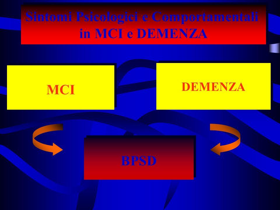 Sintomi Psicologici e Comportamentali in MCI e DEMENZA Sintomi Psicologici e Comportamentali in MCI e DEMENZA BPSD DEMENZA MCI MCI