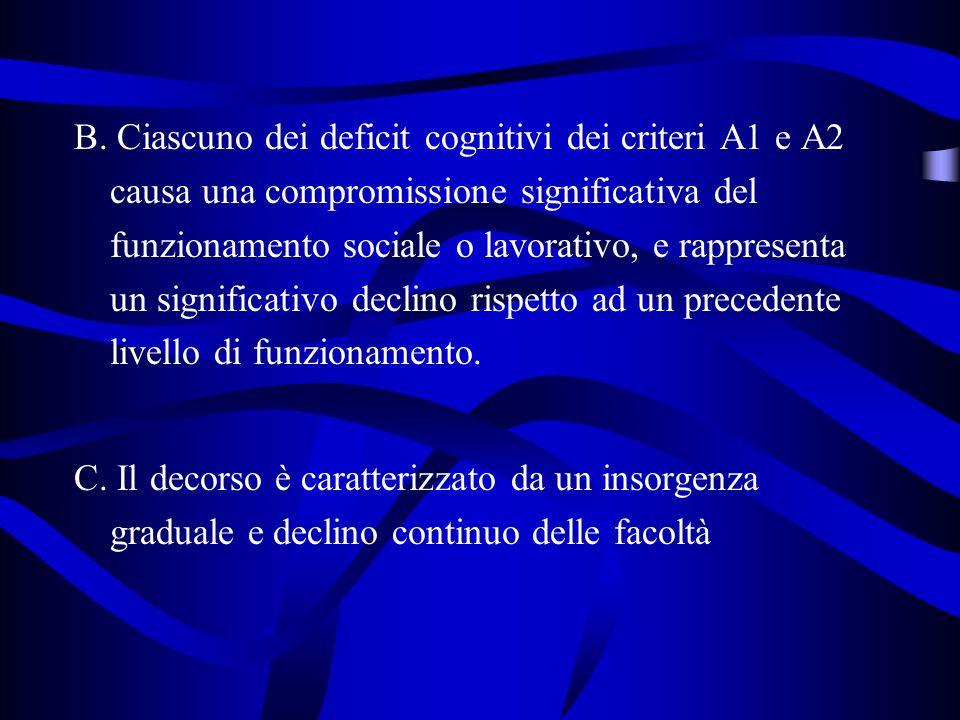 B. Ciascuno dei deficit cognitivi dei criteri A1 e A2 causa una compromissione significativa del funzionamento sociale o lavorativo, e rappresenta un