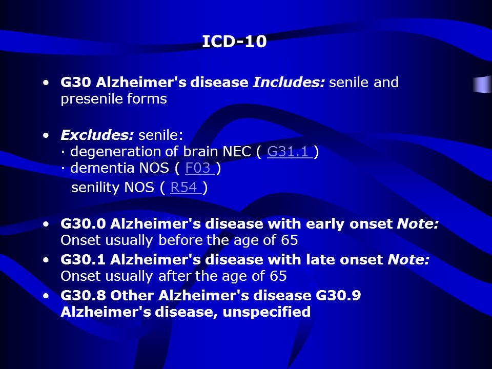 DIAGNOSIS OF DEMENTIA OR AD Impairment of memory AMNESIA Impairment of other cognitive domains: Language Visuospatial skills APHASIA APRAXIA AGNOSIA Executive Impairment EXECUTIVE DISFUNCTION FUNCTIONAL IMPAIRMENT