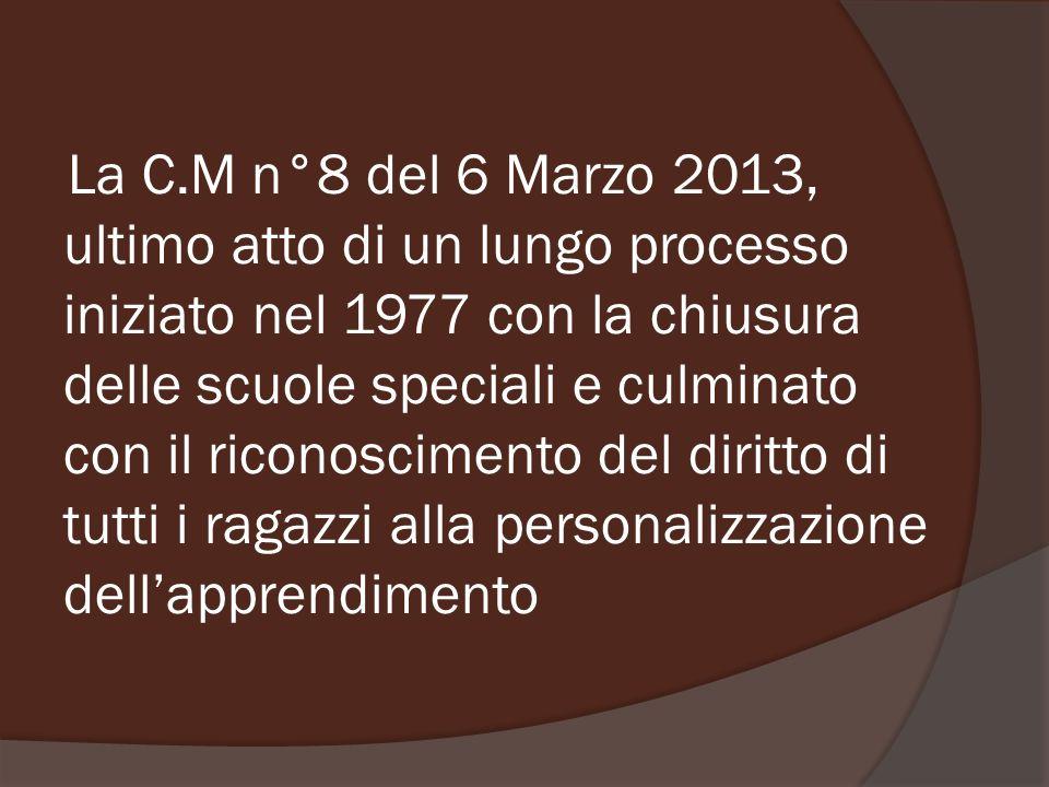 La C.M n°8 del 6 Marzo 2013, ultimo atto di un lungo processo iniziato nel 1977 con la chiusura delle scuole speciali e culminato con il riconosciment
