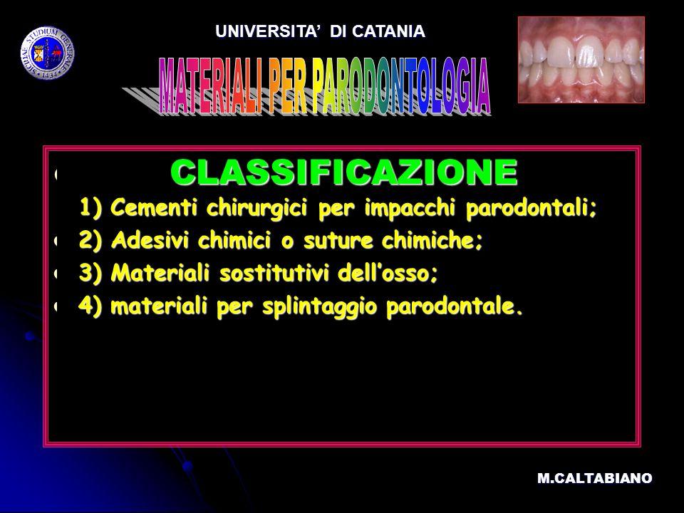CLASSIFICAZIONE 1) Cementi chirurgici per impacchi parodontali; CLASSIFICAZIONE 1) Cementi chirurgici per impacchi parodontali; 2) Adesivi chimici o s