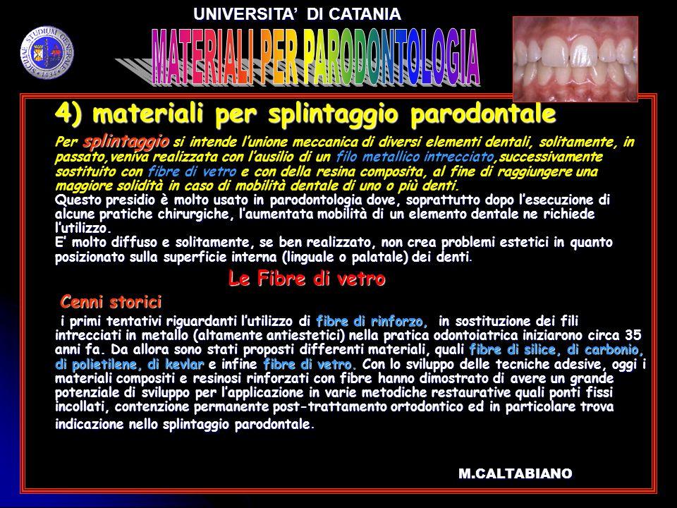 4) materiali per splintaggio parodontale 4) materiali per splintaggio parodontale splintaggio Questo presidio è molto usato in parodontologia dove, so