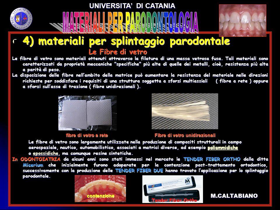 4) materiali per splintaggio parodontale 4) materiali per splintaggio parodontale Le Fibre di vetro Le Fibre di vetro Le fibre di vetro sono materiali