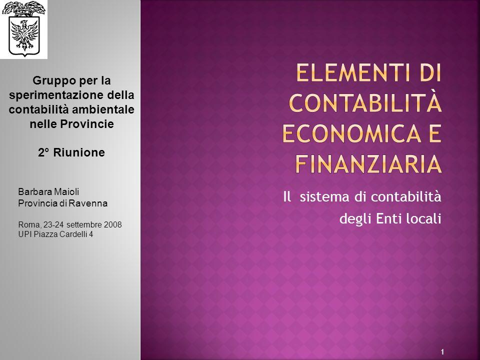 1 Il sistema di contabilità degli Enti locali Barbara Maioli Provincia di Ravenna Roma, 23-24 settembre 2008 UPI Piazza Cardelli 4 Gruppo per la speri