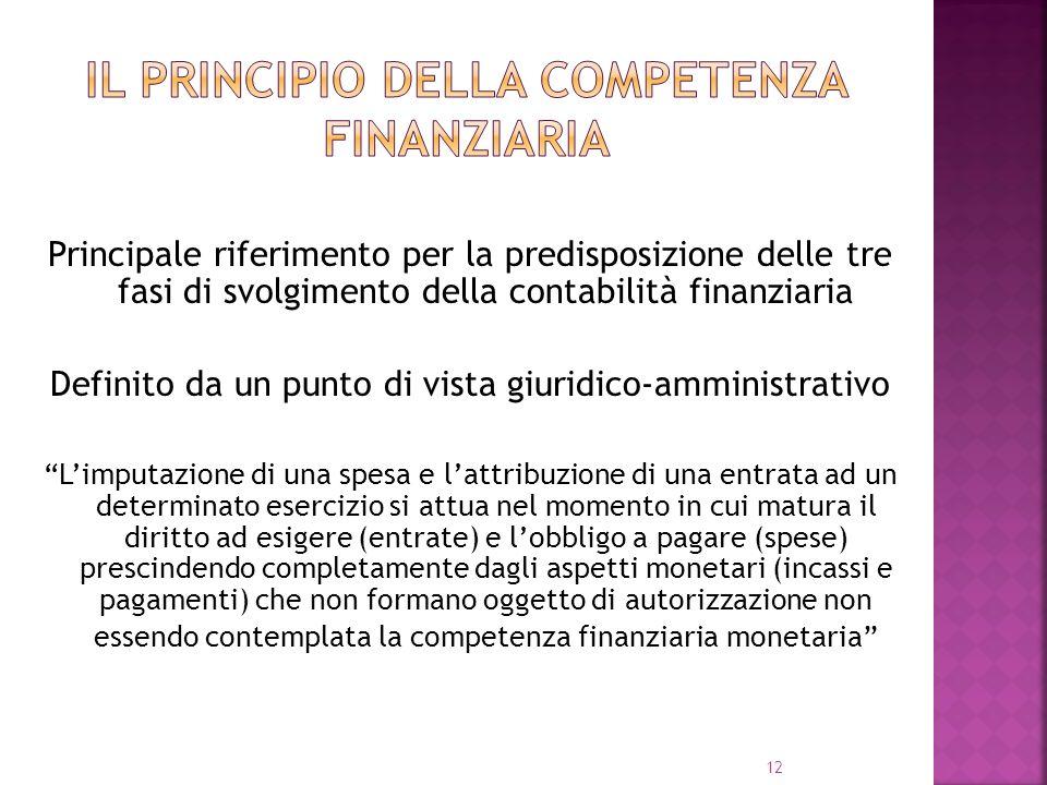 12 Principale riferimento per la predisposizione delle tre fasi di svolgimento della contabilità finanziaria Definito da un punto di vista giuridico-a