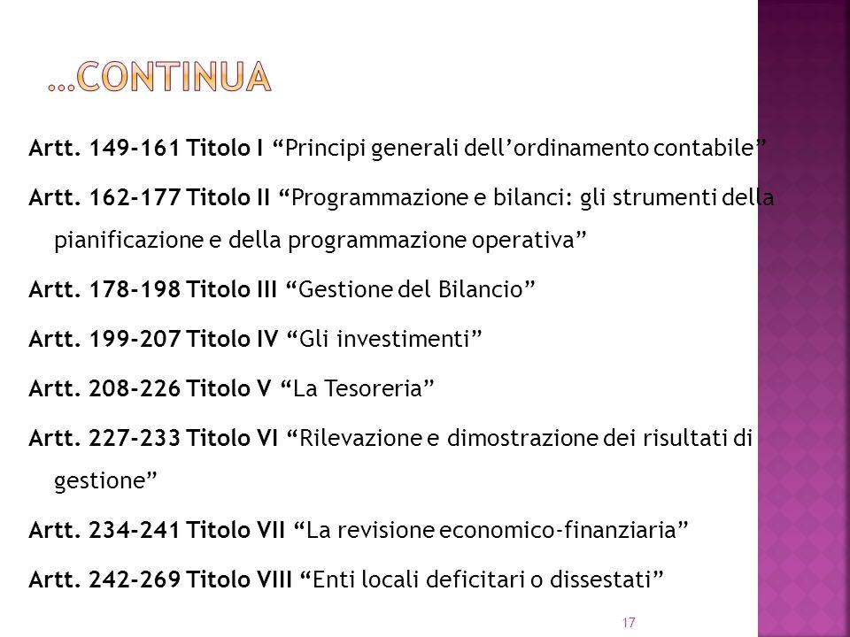 17 Artt. 149-161 Titolo I Principi generali dellordinamento contabile Artt. 162-177 Titolo II Programmazione e bilanci: gli strumenti della pianificaz