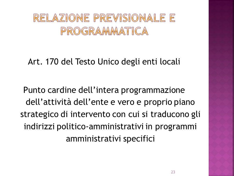 23 Art. 170 del Testo Unico degli enti locali Punto cardine dellintera programmazione dellattività dellente e vero e proprio piano strategico di inter