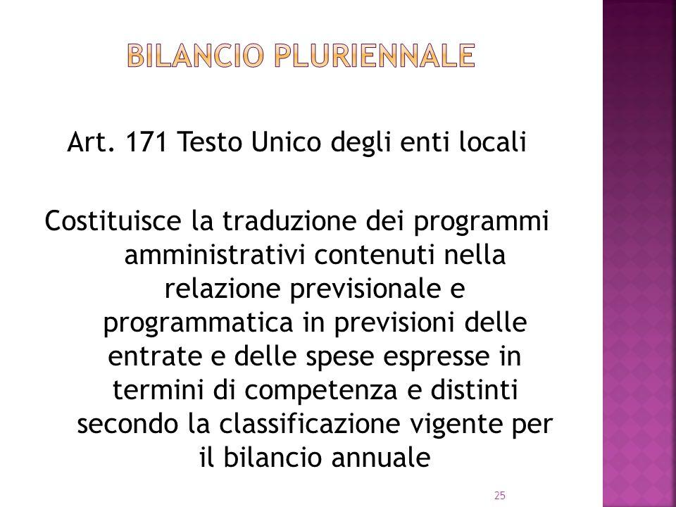 25 Art. 171 Testo Unico degli enti locali Costituisce la traduzione dei programmi amministrativi contenuti nella relazione previsionale e programmatic