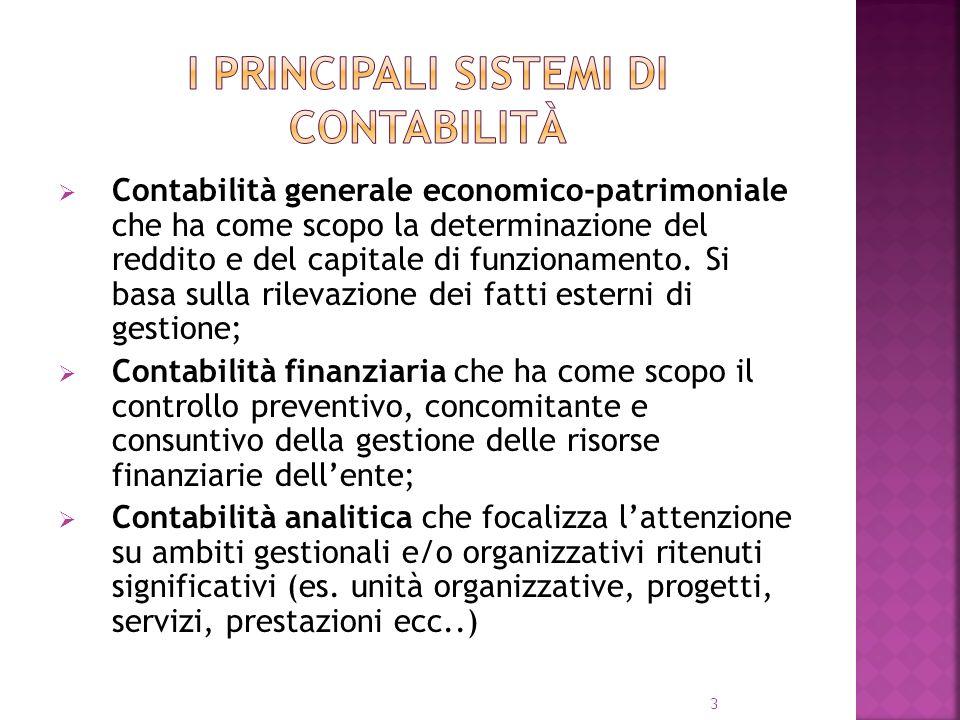 3 Contabilità generale economico-patrimoniale che ha come scopo la determinazione del reddito e del capitale di funzionamento. Si basa sulla rilevazio