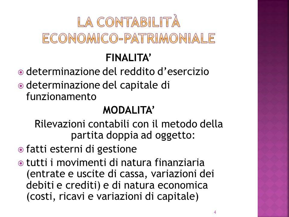 4 FINALITA determinazione del reddito desercizio determinazione del capitale di funzionamento MODALITA Rilevazioni contabili con il metodo della parti